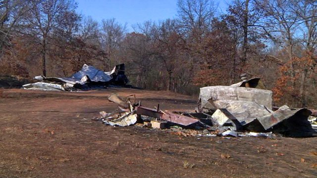 Two mobile homes in Stonewall were destroyed in a grass fire on Monday. (KTEN)