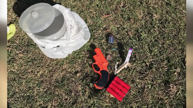 Investigators took this photo of the pipe bomb components. (Photo: Choctaw County Sheriff)
