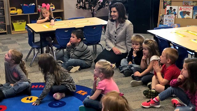 Joy Hofmeister, Oklahoma's Superintendent of Public Instruction, visited students at the Robert E. Lee Early Childhood Center in Durant on Monday. (KTEN)