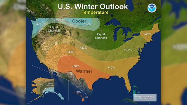 Warmer and drier conditions are forecast for Texoma between now and February 2018. (NOAA)