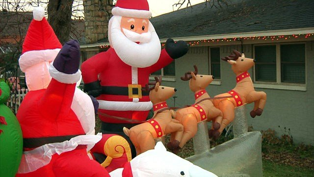 Isaac Henson has had an elaborate holiday display in his Denison yard for three decades. (KTEN)