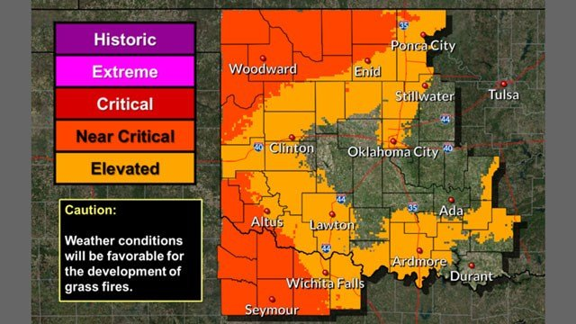 The National Weather Service issued a Red Flag Warning for northern Oklahoma on Monday. (NWS)