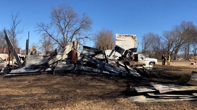 Fire destroyed this garage in Ravia. (KTEN)