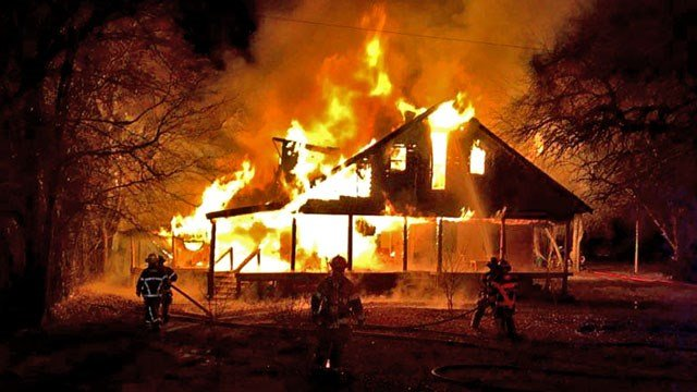 Firefighters were unable to save this burning house near Gunter. (Courtesy Gunter Fire-Rescue)