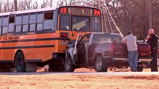 A pickup truck rear-ended a school bus in Lone Grove. (KTEN)