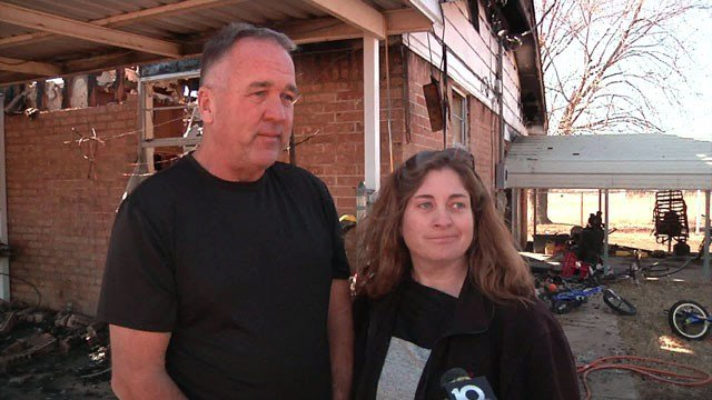 Jeff and Anna Mullinax are picking up the pieces after fire gutted their home. (KTEN)