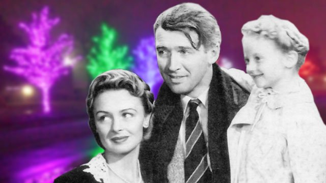 "Donna Reed, James Stewart and Karolyn Grimes starred in ""It's a Wonderful Life."""