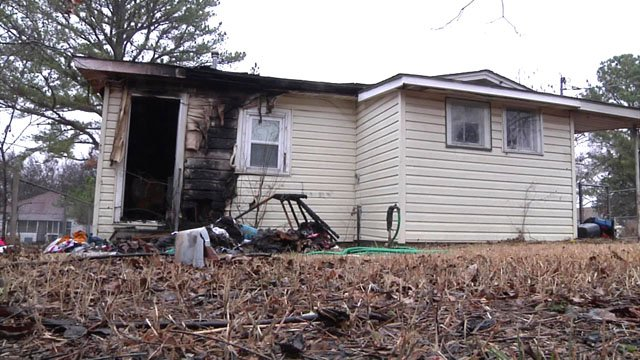 A fire at this Madill home destroyed Christmas gifts for a family of five. (KTEN)