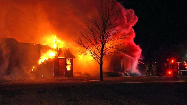 Fire destroyed a residence in Collinsville, Texas. (KTEN)