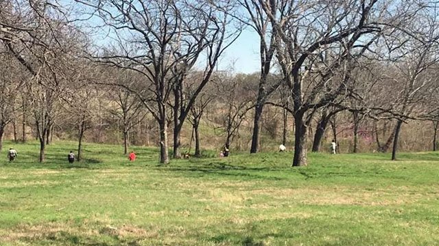 Search teams scoured an area for clues after a skull was found in a pasture near Gene Autry, Okla. in March, 2017. (KTEN)