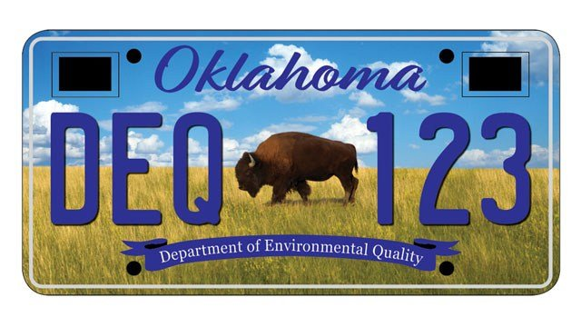A buffalo is featured in one of three new license plate designs proposed by the Oklahoma Department of Environmental Quality. (ODEQ)