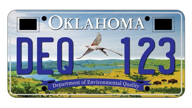 A scissor-tailed flycatcher is featured in one of three new license plate designs proposed by the Oklahoma Department of Environmental Quality. (ODEQ)