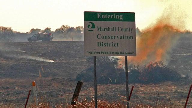 Volunteers battled a range fire along the Marshall-Johnston County line. (KTEN)
