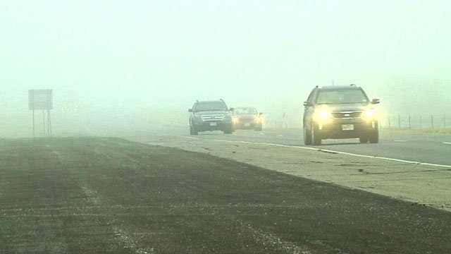 Tuesday morning fog along US 82 between Gainesville and Sherman. (KTEN)