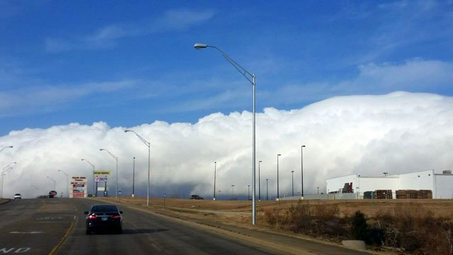 Clouds associated with a cold front roll across Ada on Thursday morning. (Courtesy Meena Winters-Dalluge)