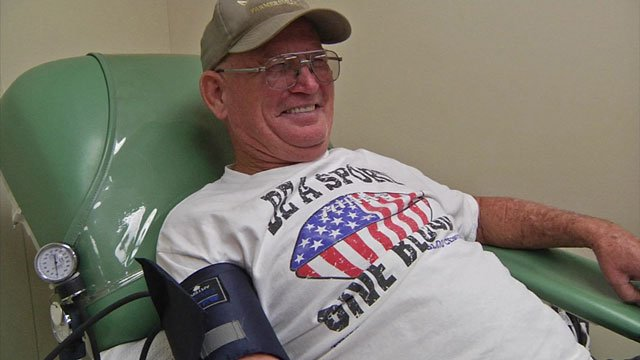 Carroll Winkle has been donating blood for more than three decades. (KTEN)