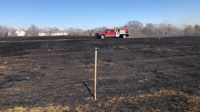 About 25 acres burnes in the range fire near Gordonville. (KTEN)