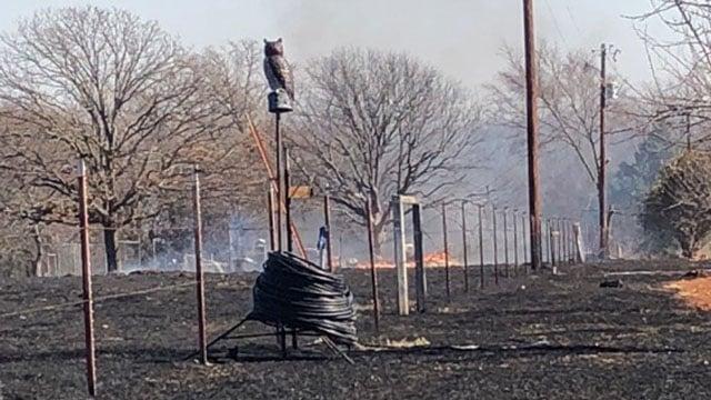 An unoccupied home was destroyed in the range fire near Gordonville. (KTEN)