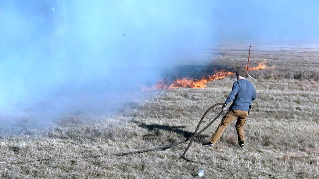 A firefighter tries to halt the spread of a range fire along I-35 in Love  County. (Courtesy Kendra McClendon)