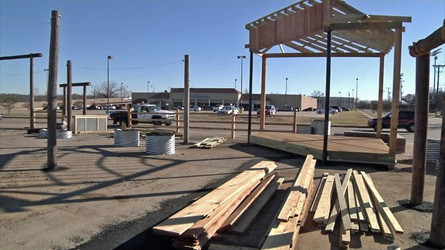 Construction is underway at the Denison Food Truck Park site. (KTEN)