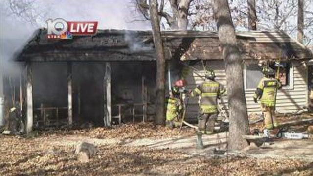 Fire burned a home on Atlantic Street in Pottsboro. (KTEN)