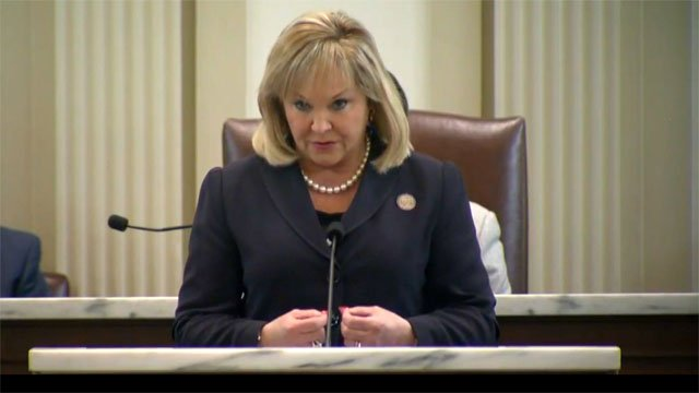 Oklahoma Gov. Mary Fallin delivers her final State of the State address to the state legislature. (Courtesy OETA)