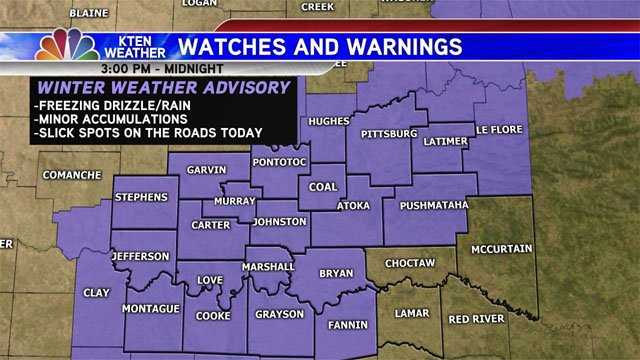 The Winter Weather Advisory has been expanded to include more counties across Texoma. (KTEN)