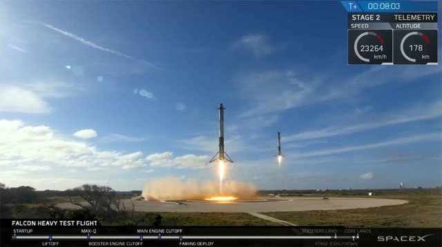 Two Falcon Heavy booster rockets return to Earth simultaneously. (SpaceX photo)