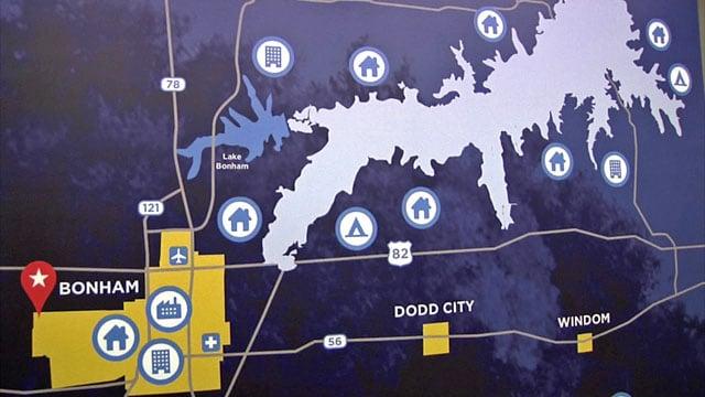 Map shows Lower Bois d'Arc Creek Reservoir in relation to Bonham. (KTEN)