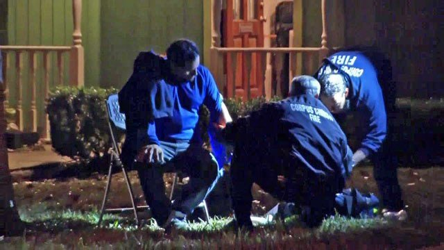 Paramedics treat one of the victims of a stabbing at a Corpus Christi church service. (KRIS)