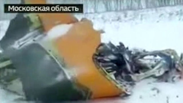 Wreckage of the Russian passenger jet that crashed near Moscow. (Russia24 via CNN)