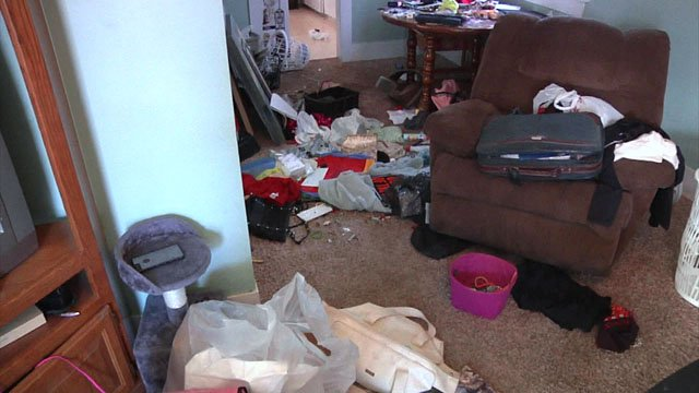Burglars left a mess in Adriane Johnston's Ardmore home. (KTEN)