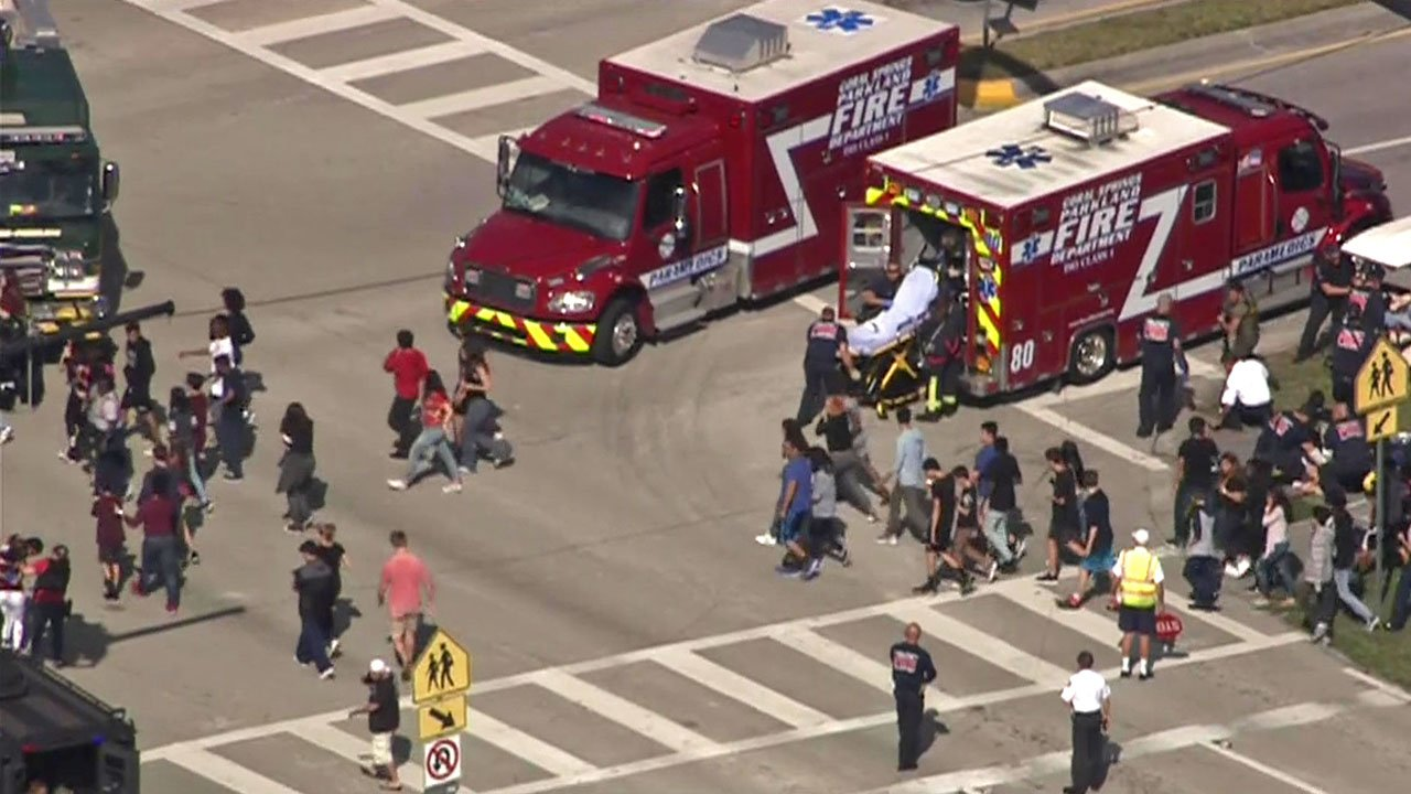 A mass evacuation followed reports of a shooting at Marjory Stoneman Douglas High School in Parkland, Florida. (WSVN via CNN)