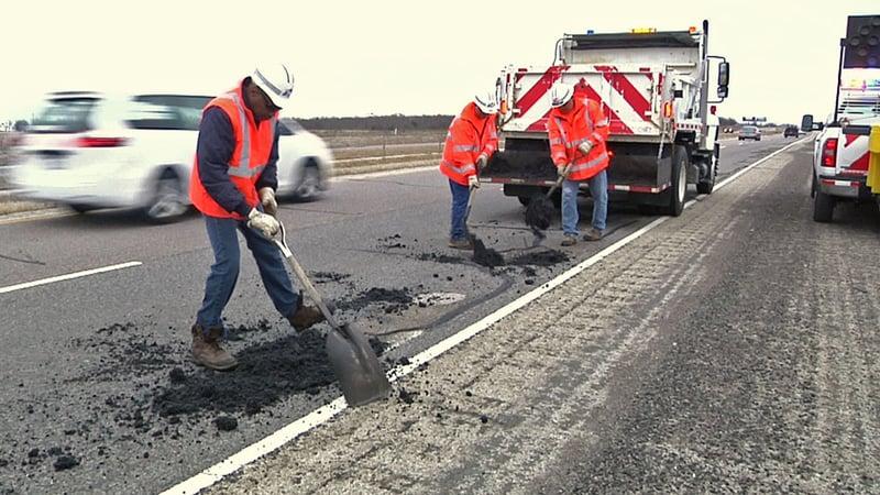 A construction crew on U.S. 75 in Anna. (KTEN)