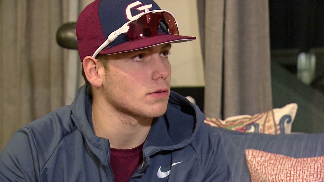 Colorado baseball prospect Gavin Bell talks about his interaction with Texas Wesleyan baseball coach Mike Jeffcoat. (WUSA via NBC News)