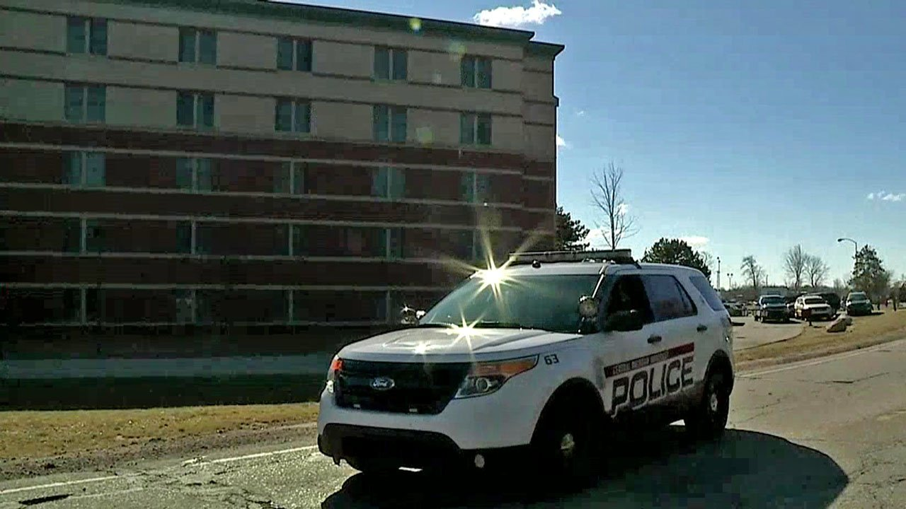Police said two people were shot and killed in a residence hall at Central Michigan University. (WEYI via NBC News)