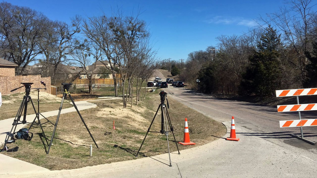 Police blocked access to the area where human remains were discovered in Anna, Texas.  (KTEN)