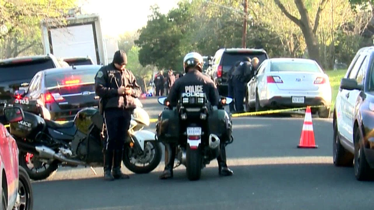 Police in Austin blocked off the area near the Monday morning explosion. (KXAN via NBC News)