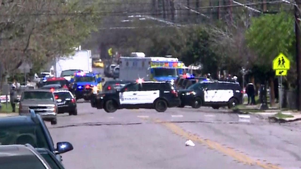 Austin police surround the scene of Monday's second explosion. (KXAN via NBC News)
