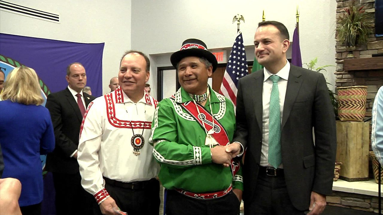 Irish Prime Minister Leo Varadkar, right, is welcomed to Durant. (KTEN)