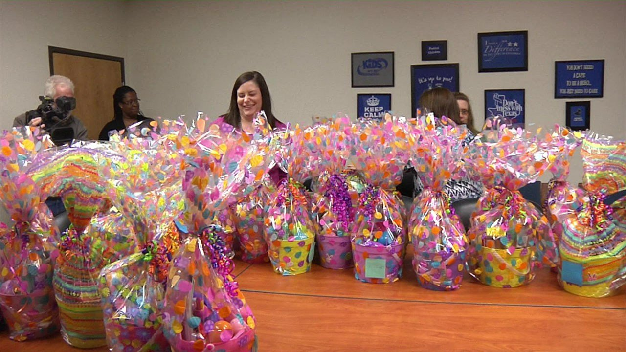 Ruiz Foods donated 50 easter baskets to foster kids in Grayson County. (KTEN)