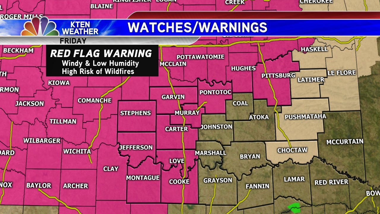 A Red Flag Warning was issued for much of Texoma on Friday, March 16. (KTEN)