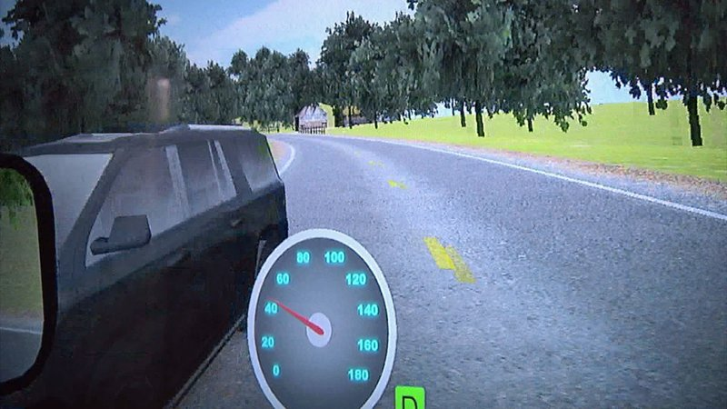 Here's what students see during the Arrive Alive driving simulation. (KTEN)