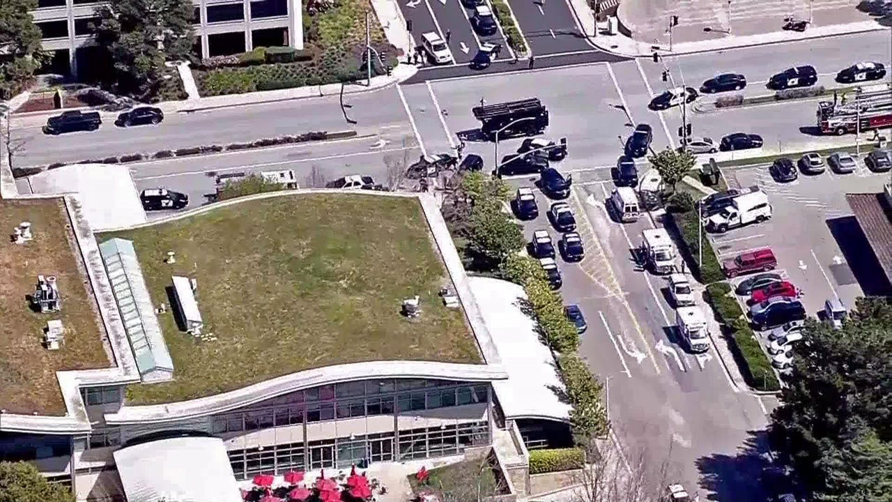 Police surrounded the YouTube campus in San Bruno, California. (KNTV)