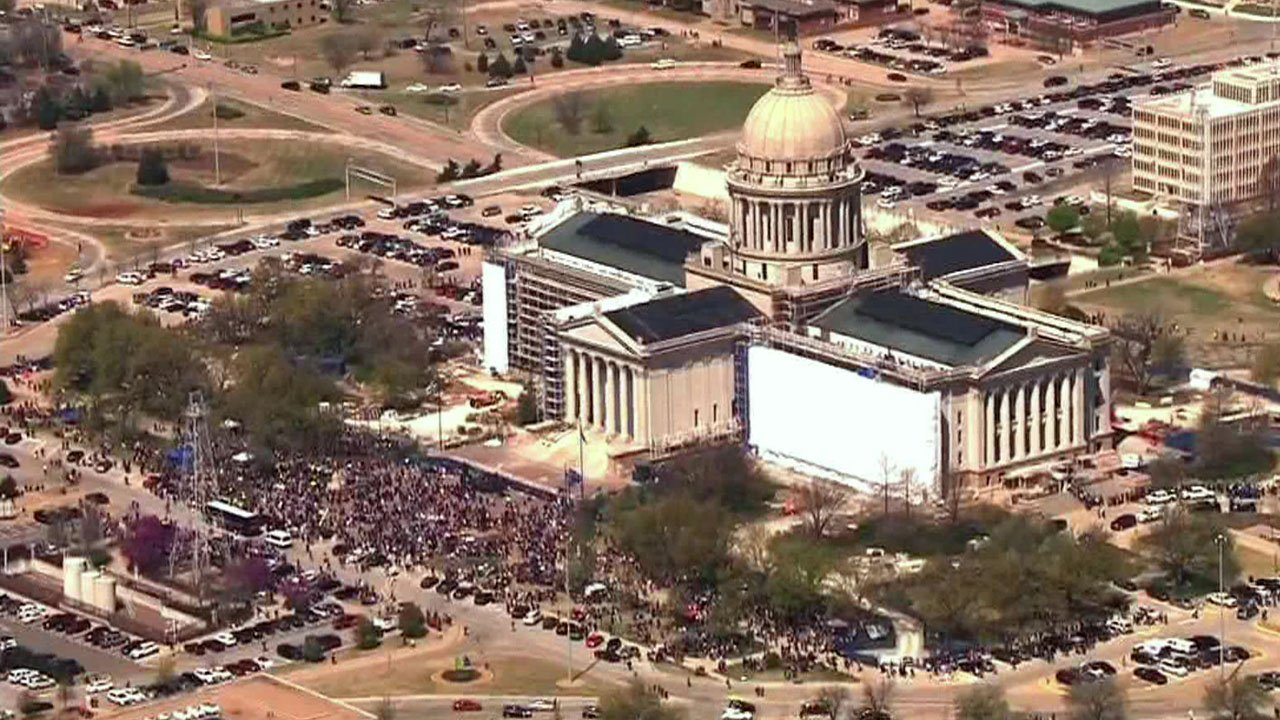Teachers marched on the Oklahoma Capitol for the second day. (KFOR)