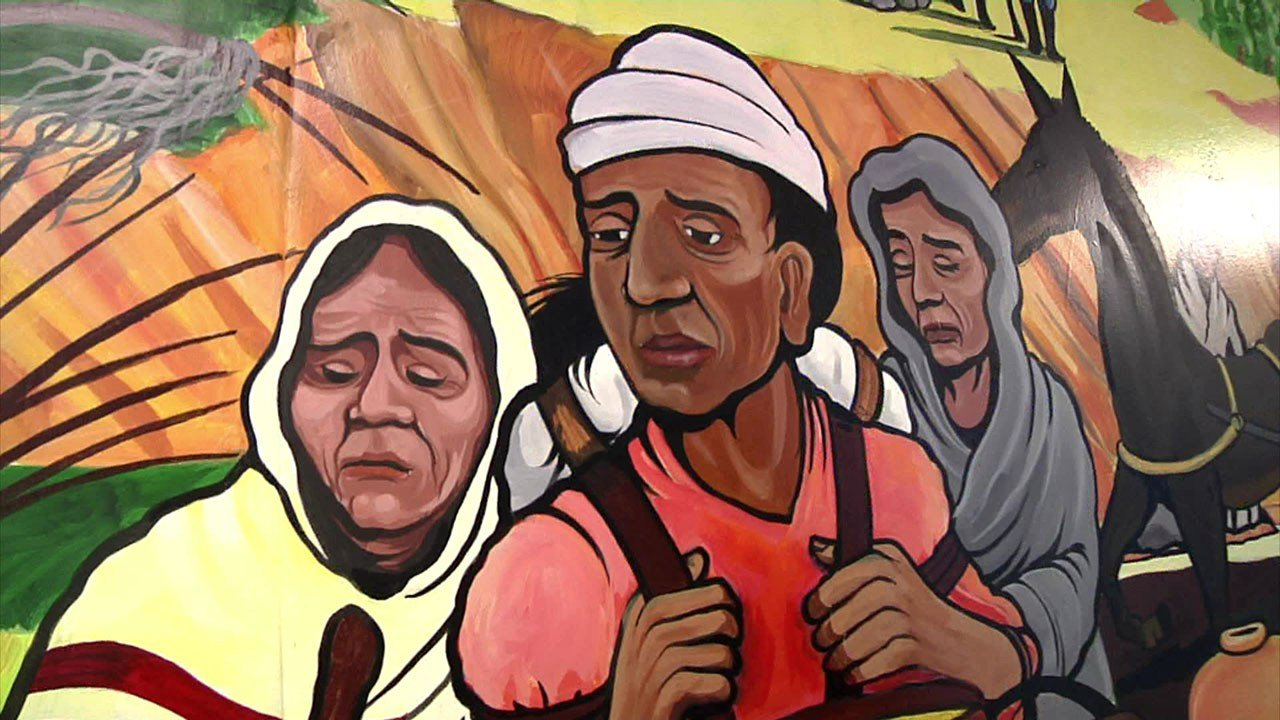 A detail from Robert Rawls' Trail of Tears mural in Durant. (KTEN)