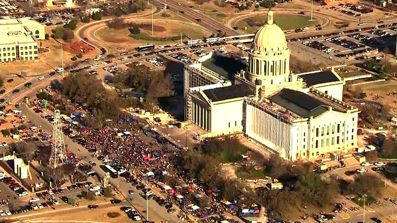 The plaza in front of Oklahoma's Capitol is filled with demonstrators on Monday morning. (KFOR)