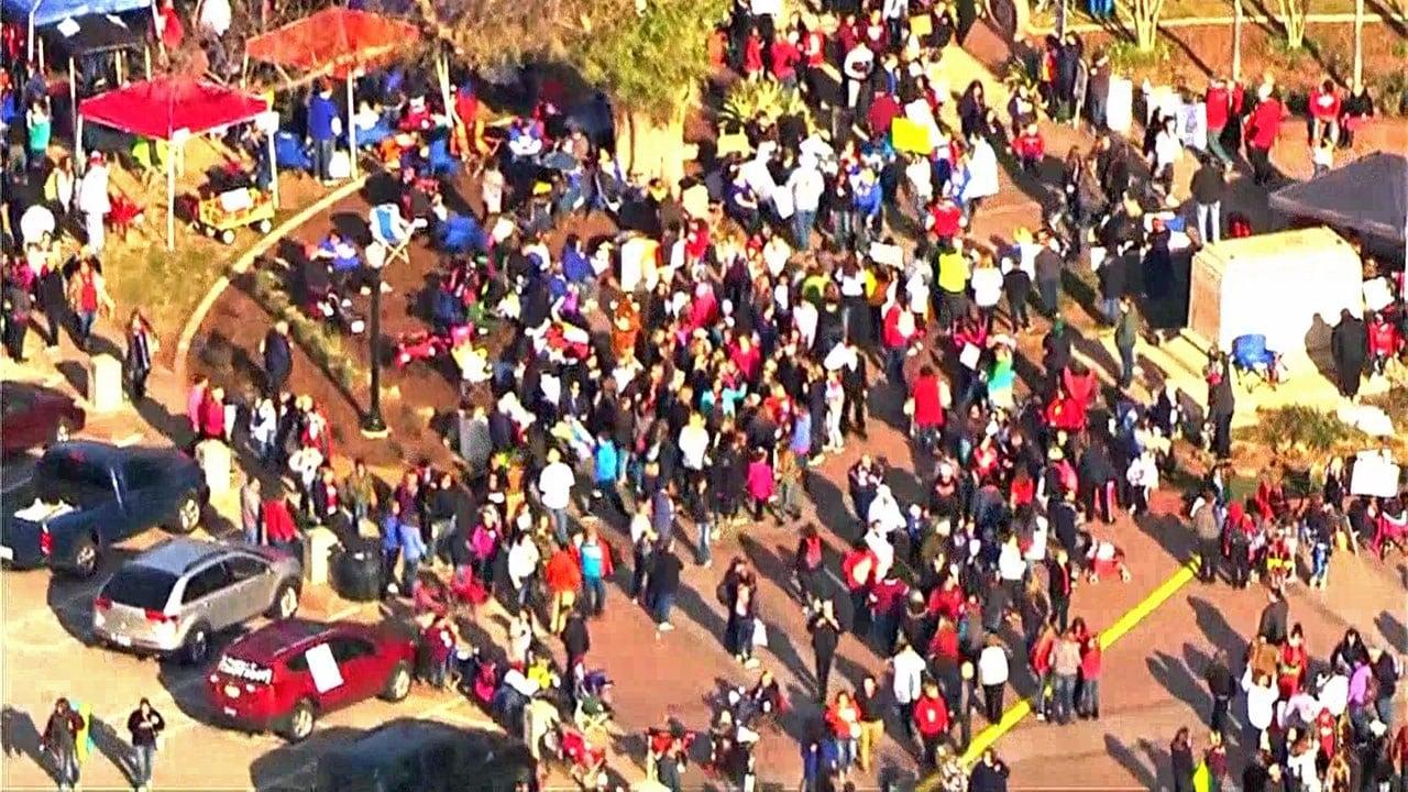 Oklahoma teachers gather outside the State Capitol on Monday, April 9. (KFOR)