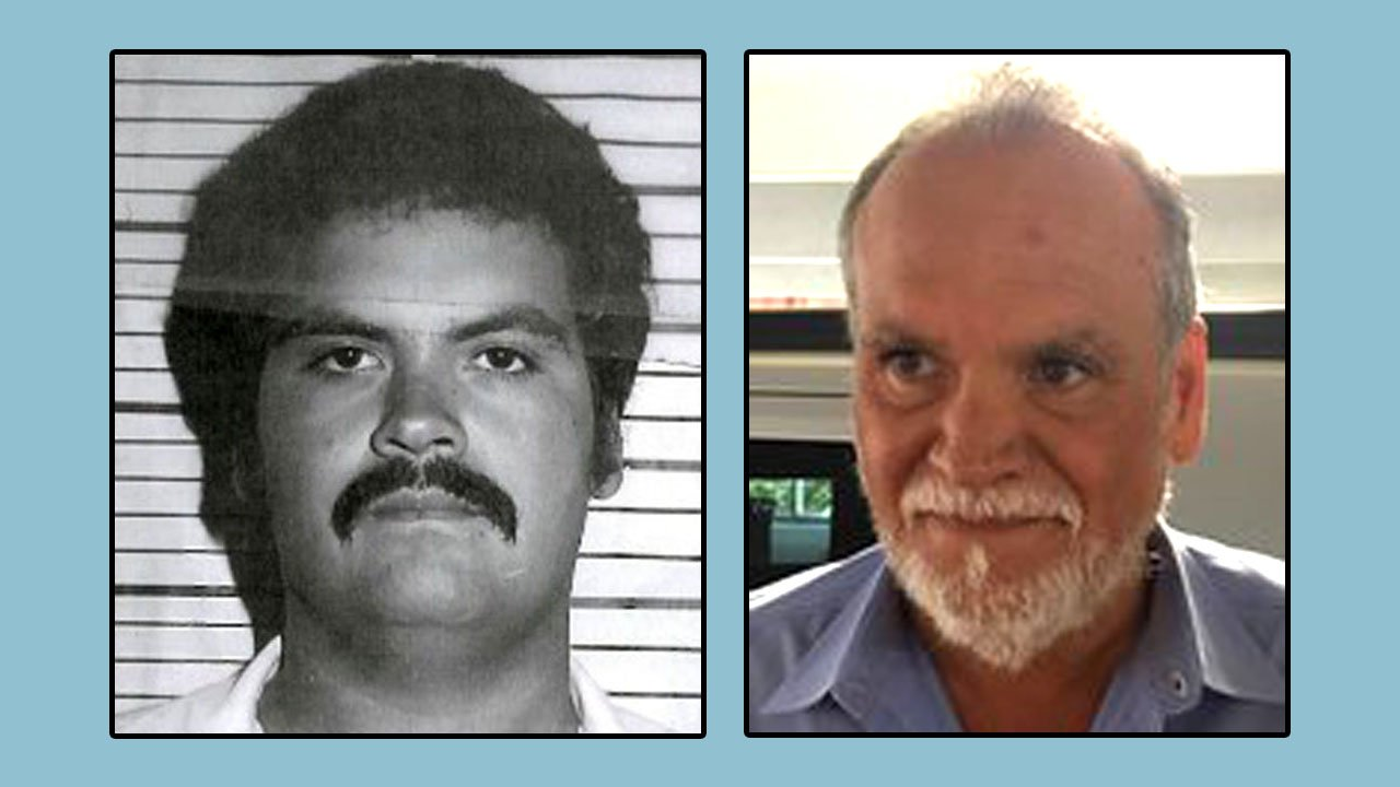Stephen Paris in 1981, left, and after he was captured Thursday in Houston. (Oklahoma Department of Corrections)