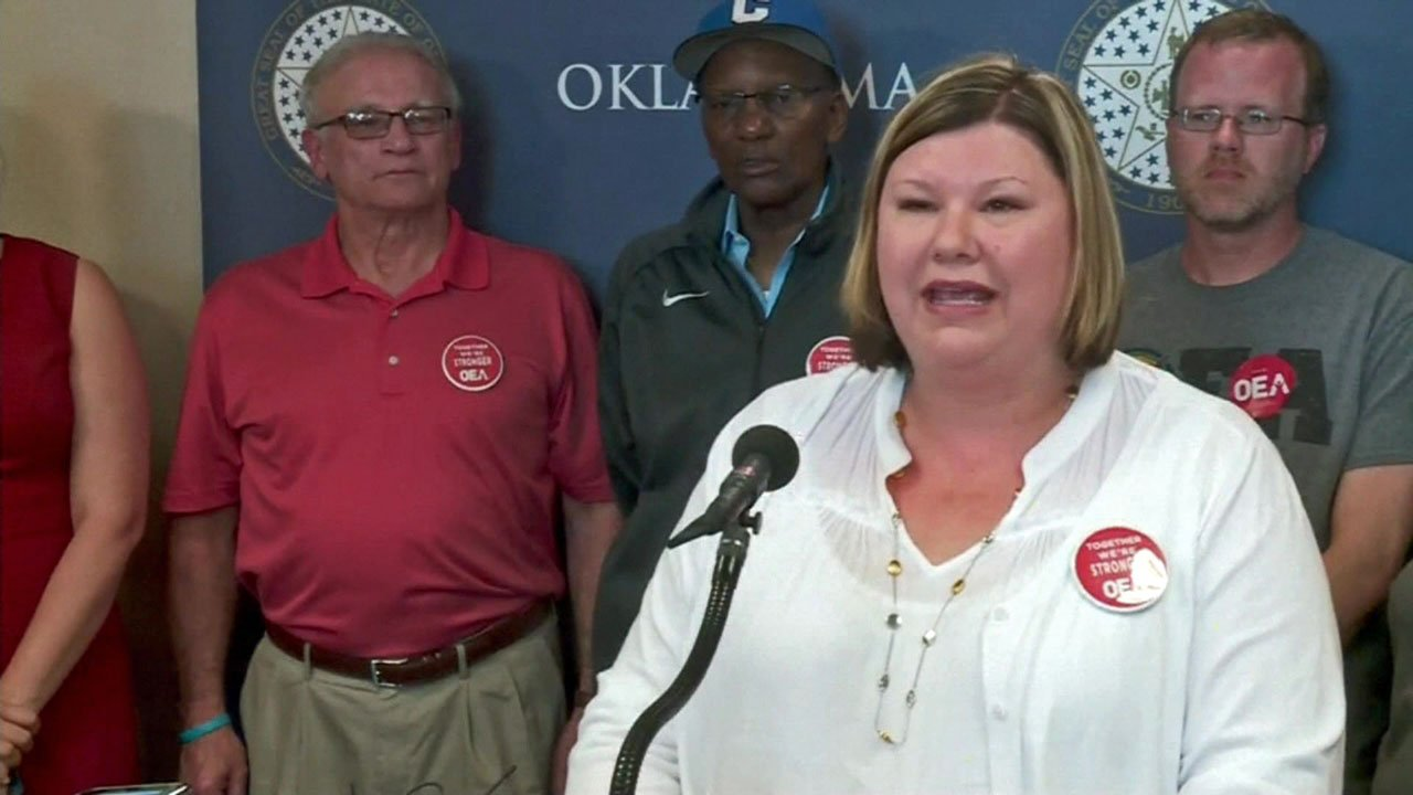 OEA president Alicia Priest announces an end to the statewide teacher walkout. (KFOR)